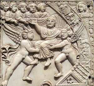 Quintus Aurelius Symmachus - Probable depiction of Symmachus arriving in heaven following his apotheosis. The genii who bear him skyward, as well as the Sun god and zodiacal signs, attest to Symmachus' pagan convictions.