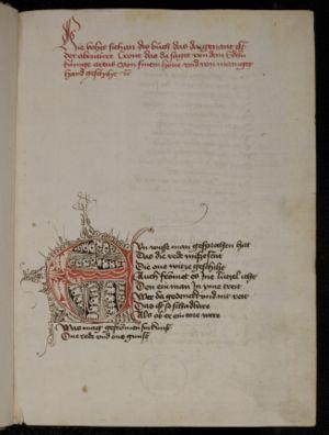 Austrian literature - Heinrich von dem Tuerlîn: Diu Crône. Heidelberg, UB, cpg 374, 1r.