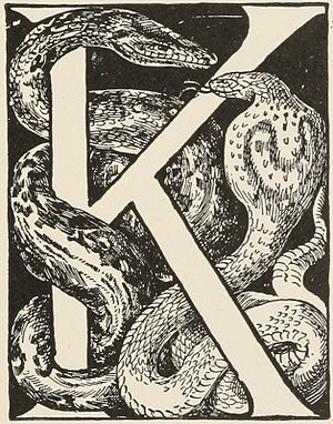 Kaa - Kaa (left), as illustrated in the 1895 edition of The Two Jungle Books