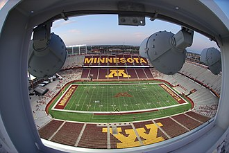 TCF Bank Stadium - Visitor side from the main light bank on top of the press gallery