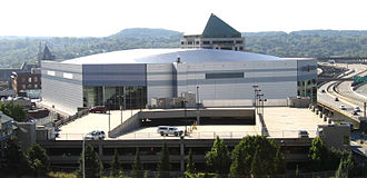 Times Union Center - The Times Union Center and its parking garage, as viewed from the Empire State Plaza. The 1997–2006 Pepsi Arena signage is visible in this photo.
