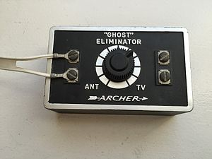 "Ghosting (television) - A ""ghost eliminator"" sold to consumers in the 1960s and 70s to make ghosting less visible. This unit was a simple resistive attenuator."