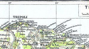 Tajura - 1913 map with Tajura (spelled Tagiura), on the Mediterranean in the Tripolitania region.