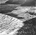 Taku Glacier, terminus of tidewater glacier, esker and braided stream, September 1, 1977 (GLACIERS 6258).jpg