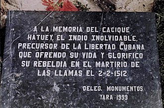 Cacique - Hatuey monument plaque.