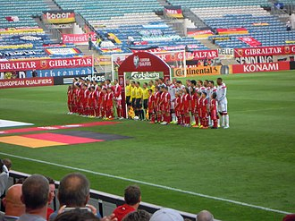 Gibraltar national football team results - The players of Gibraltar and Germany lining up before their UEFA Euro qualifying match in 2015.