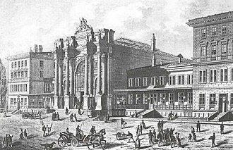 Austrian Northwestern Railway - Drawing of railway station Prague-Těšnov