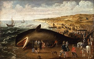 "Cetacean stranding - ""The Whale Beached between Scheveningen and Katwijk, with Elegant Sightseers,"" by Esaias van den Velde, c.1617"