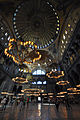The 30.6m ⌀ dome and the chandeliers with Islamic patterns - Hagia Sophia (8396798798).jpg