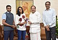 The Badminton Player Ms. P.V Sindhu and the coach, Shri P. Gopichand calling on the Vice President, Shri M. Venkaiah Naidu, in New Delhi on August, 31, 2017 (1).jpg