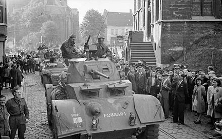 British armoured cars during the liberation of Ghent, September 8th 1944. The British Army in North-west Europe 1944-45 BU769.jpg