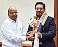 The Chief Minister of Meghalaya, Shri Conrad Sangma calling on the Union Minister for Social Justice and Empowerment, Shri Thaawar Chand Gehlot, in New Delhi on May 02, 2018.JPG