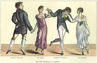 Sarah Villiers, Countess of Jersey - The First Quadrille at Almack's, an illustration featuring Lady Jersey, second from left