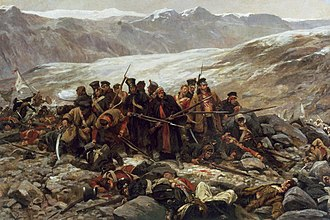 Last stand of the 44th at Gandamak, painted by William Barnes Wollen The Last Stand, by William Barnes Wollen (1898).jpg