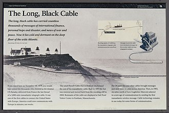 French Cable Hut - Informational sign at site of French Cable Hut, Eastham, Massachusetts