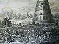 The Phillip Medhurst Picture Torah 70. Building the Tower of Babel. Genesis cap 11 v 2. Jan and Caspar Luyken.jpg