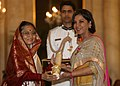 The President, Smt. Pratibha Devisingh Patil presenting the Padma Bhushan Award to Smt Shabana Azmi, at an Investiture Ceremony-II, at Rashtrapati Bhavan, in New Delhi on April 04, 2012.jpg