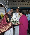 The Prime Minister, Dr. Manmohan Singh being welcomed by the Chief Minister of Tamil Nadu, Dr. J. Jayalalithaa, on his arrival at Chennai on December 25, 2011. The Governor of Tamil Nadu, Shri K. Rosaiah is also seen.jpg