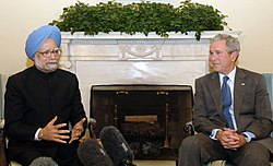 The Prime Minister, Dr. Manmohan Singh with the American President, Mr. George W. Bush interacting with media at oval office, in Washington DC