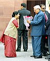 The Prime Minister Shri Atal Bihari Vajpayee is being received by the Union Minister for Parliamentary Affairs.jpg