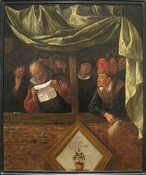 "Chamber of rhetoric - The Rhetoricians, circa 1655, by Jan Steen. The painting depicts a rederijker reading his poem (blason), while hanging over the balcony the blazon of his chamber of rhetoric can be seen; in this case the Amsterdam society ""Egelantier"", whose symbol was a wild rose (egelantier) and whose motto was ""In Liefde Bloeiend""."