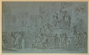 Royal Academy of Arts - Study for Henry Singleton's painting The Royal Academicians assembled in their council chamber to adjudge the Medals to the successful students in Painting, Sculpture, Architecture and Drawing, which hangs in the Royal Academy. Ca. 1793.