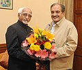 The Union Minister for Rural Development, Panchayati Raj, Drinking Water and Sanitation, Shri Chaudhary Birender Singh meeting the Vice President, Shri Mohd. Hamid Ansari, in New Delhi on November 18, 2014.jpg