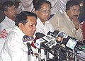 The Union Minister for Water Resources Shri Priya Ranjan Dasmunshi addressing the Press after making an aerial survey of flood affected areas of lower Assam at LGB international Airport, in Guwahati on July 15 , 2004 (PIB.jpg