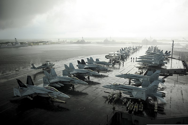 File:The aircraft carrier USS Dwight D. Eisenhower (CVN 69) is moored at Naval Station Mayport, Fla., July 1, 2013, after returning from a deployment to the U.S. 5th Fleet and U.S. 6th Fleet areas of responsibility 130701-N-SR567-065.jpg