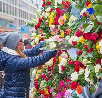 2017 Stockholm attack - Flowers just outside the Åhléns department store in Stockholm the day after the attack