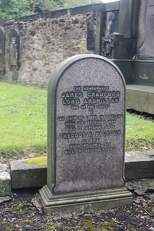 James Craufurd, Lord Ardmillan - The grave of Alexander Craufurd, Lord Ardmillan, St Cuthberts, Edinburgh