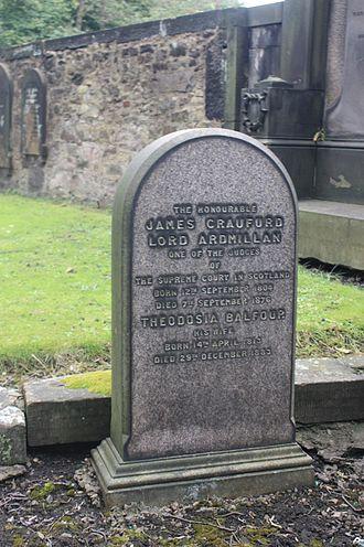 James Craufurd, Lord Ardmillan - The grave of Alexander Craufurd, Lord Ardmillan, St Cuthberts, Edinburgh