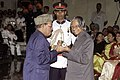 The legendry playback singer Shri Probodh Chandra Manna Dey receives the Padma Bhushan award from the President Dr. A.P.J. Abdul Kalam in New Delhi on March 28, 2005.jpg