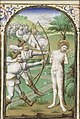 The martyrdom of St. Sebastian - tied to a tree, he is pierced by arrows - Book of hours Simon de Varie - KB 74 G37 - 076v min.jpg