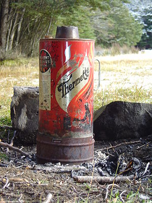 Camping in New Zealand - The thermette was a popular item of camping equipment in New Zealand prior to the advent of gas camping stoves.