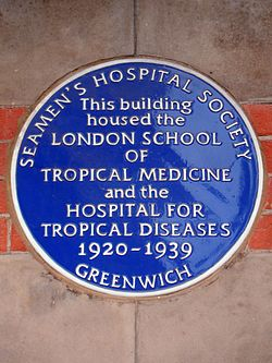 This building housed the london school of tropical medicine and the hospital for tropical diseases 1920 1939