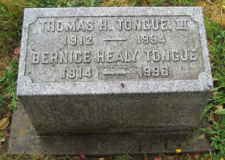 Tongue's grave marker ThomasHTongue1912to1994.JPG