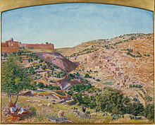 Jerusalem and the Valley of Jehoshaphat from the Hill of Evil Counsel, 1854. (Tate Gallery) Thomas Seddon - Jerusalem and the Valley of Jehoshaphat from the Hill of Evil Counsel - Google Art Project.jpg