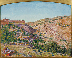 Thomas Seddon - Jerusalem and the Valley of Jehoshaphat from the Hill of Evil Counsel, 1854. (Tate Gallery)