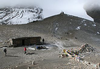 Thorong La - Thorong La Pass. The route to Manang is to the left, and the route to Muktinath is to the right.