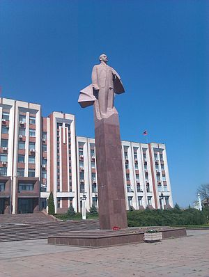 Government of Transnistria - Statue of Lenin in front of Supreme Soviet, Tiraspol.