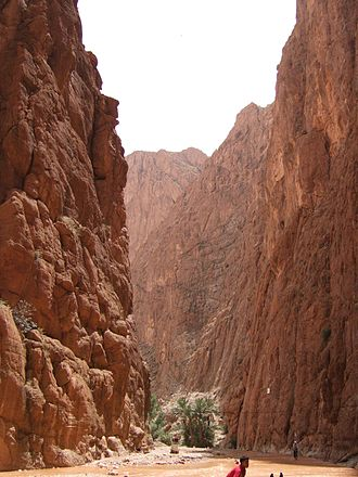 Todgha Gorge - Todgha gorge at its narrow mouth during flooding
