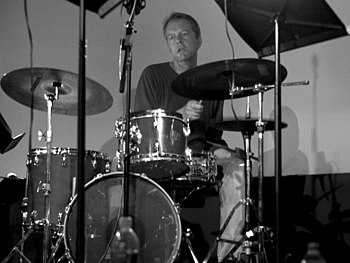Drummer Tom Rainey perforrming live in concert...