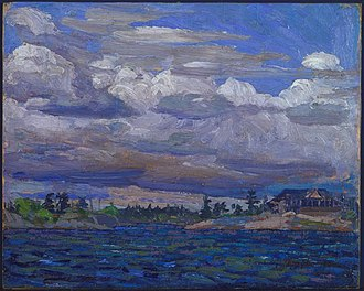 Tom Thomson - Cottage on a Rocky Shore, Summer 1914. Sketch. National Gallery of Canada, Ottawa