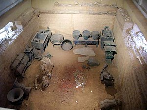 Chinese ritual bronzes - Burial pit at Tomb of Lady Fu Hao, as it is now displayed