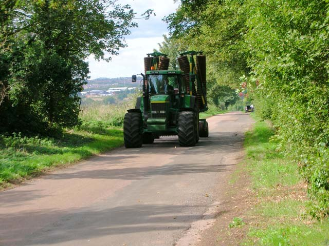 Tractor with roller on Harrowden Road, Finedon - geograph.org.uk - 229076