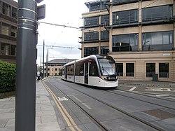 Tram coming slowly up the rise of Haymarket Yards, Edinburgh (geograph 4033178).jpg