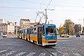 Tram in Sofia near Russian monument 060.jpg