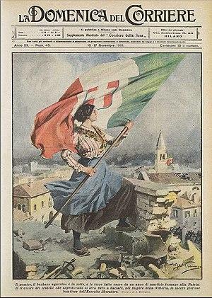 La Leggenda del Piave - A woman, representing Italy, celebrates the Italian victory over Austria-Hungary