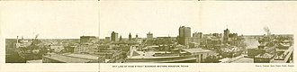 Houston Skyline District - Houston Sky Line Business District (postcard, trifold, circa 1912)